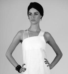 Model in Asymmetrical Dress