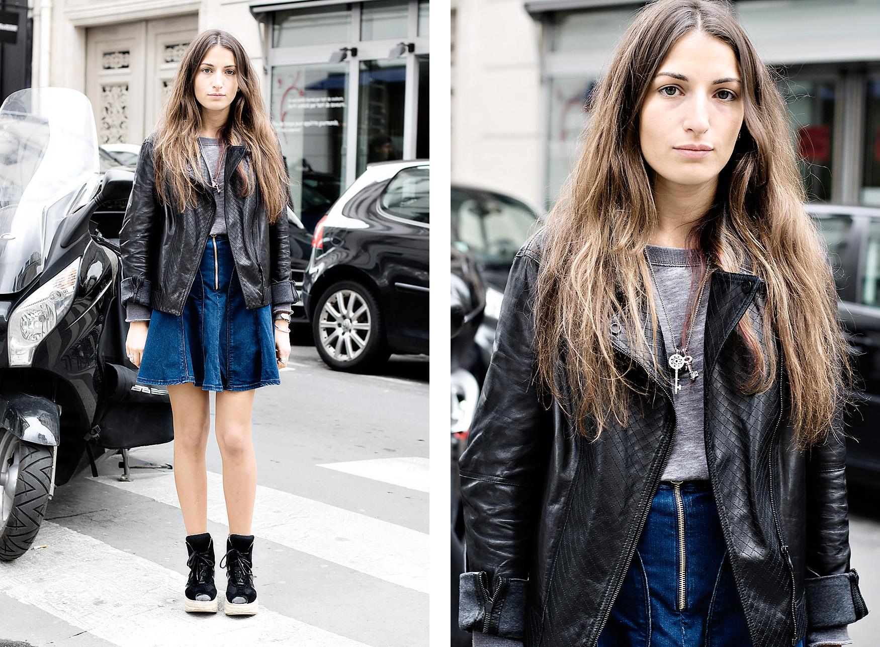 Denim Jacket And Leather Skirt - Skirts